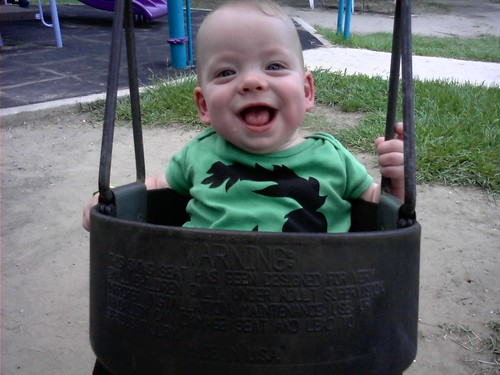 Oliver's first swing!