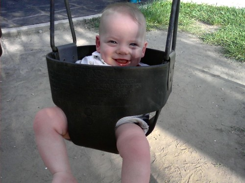 Miles's first swing!