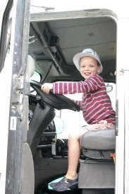 Miles driving a cement mixer