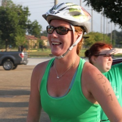 Heather before her bike