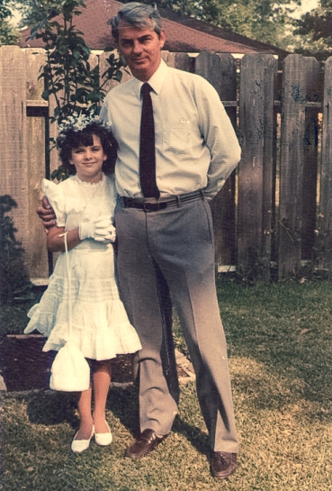 Me and my dad in the backyard before my first wedding.