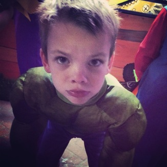 Hulk sad because Mommy steal candy.