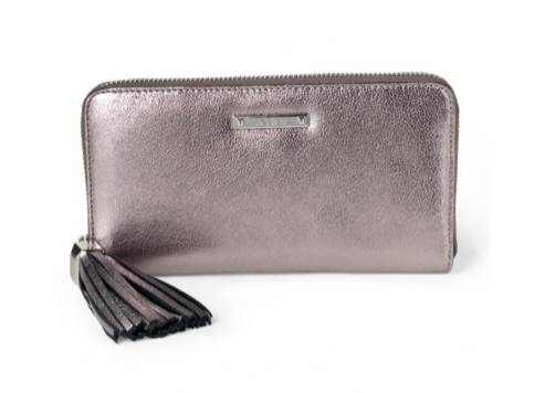 Mercer Zip Wallet- Pewter Metallic