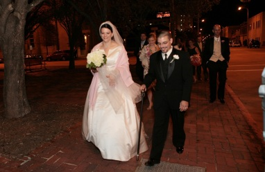 Making our way to the reception, post-photos.
