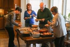 The grownups get their food.