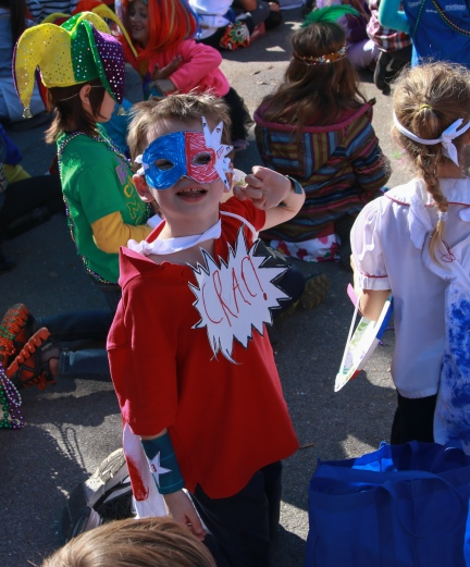 Linus's class made superhero costumes.