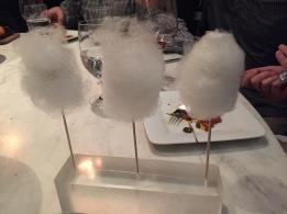 Cotton candy around a bit of foie gras.