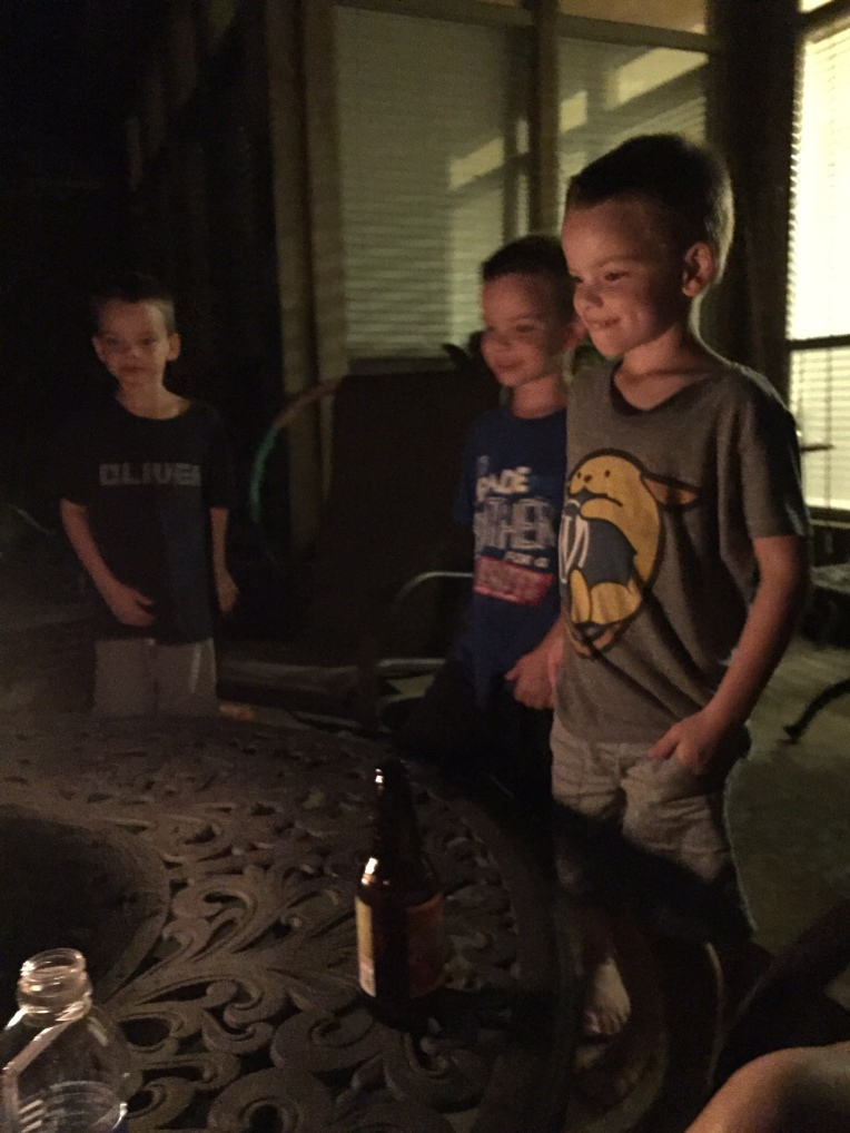 Mesmerized by the fire pit.