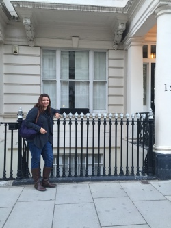 Me in front of our flat.