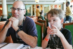 Uncle Evan and Miles at lunch