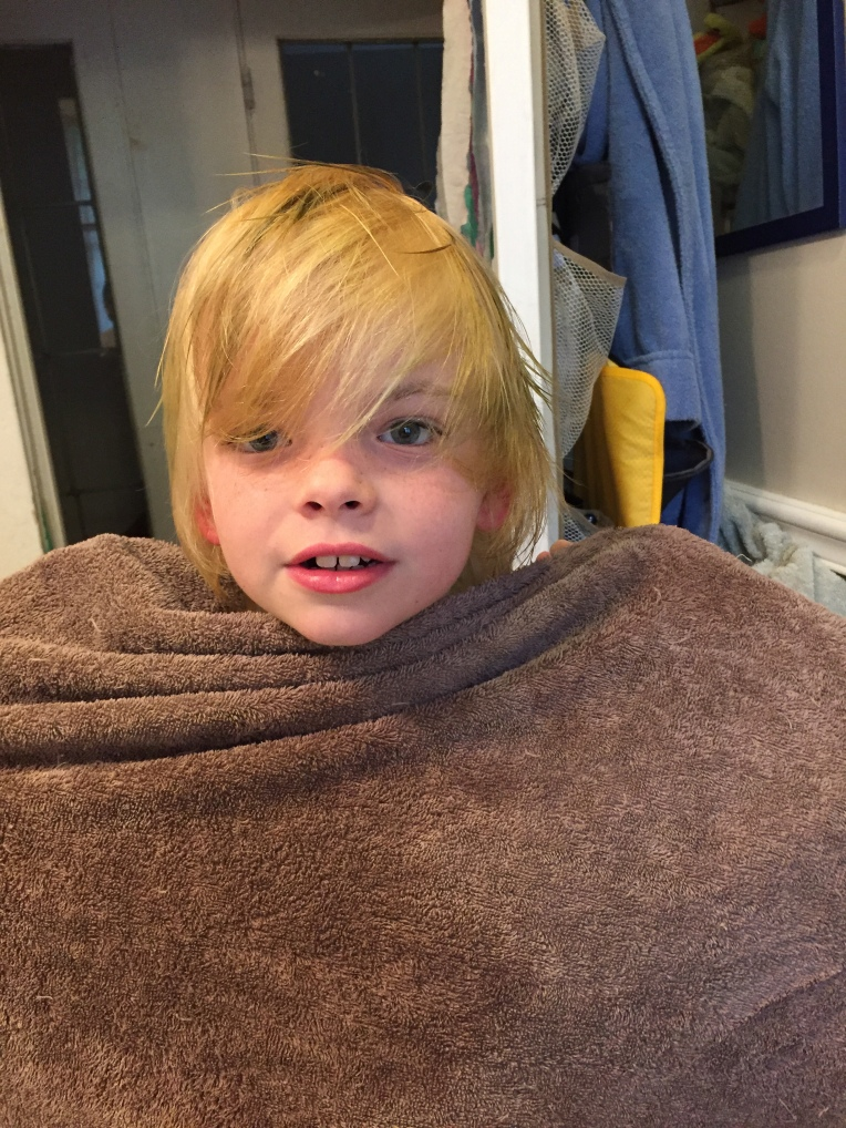 April 16 - Oliver is briefly blond.
