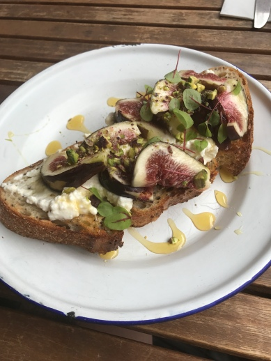 Figs and ricotta on toast.