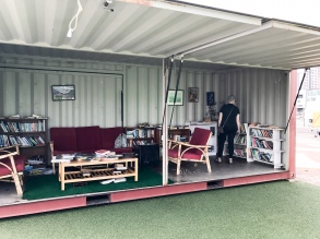 A library on the harbor, built in a shipping container