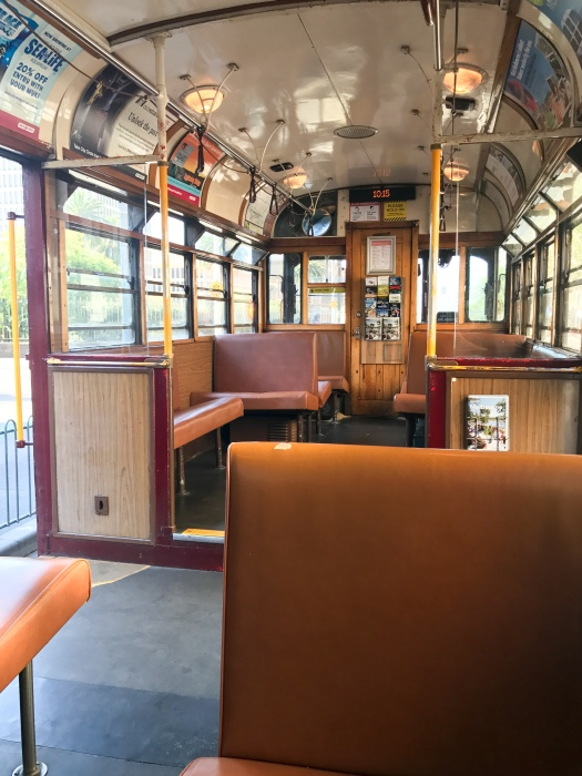 Inside the tram, which reminded me a lot of a streetcar