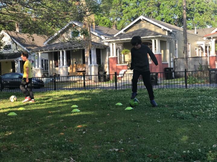 Kicking the ball around at the park