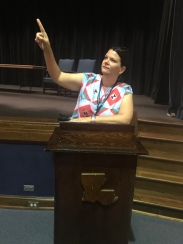 Giving an impassioned speech