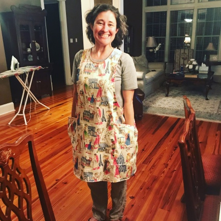 Jennifer in the apron I made her