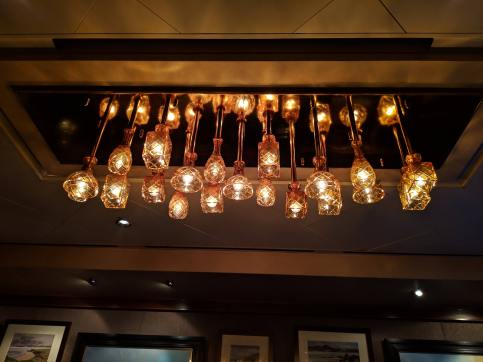 Light fixture in the whiskey bar