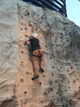 Evan rock climbing