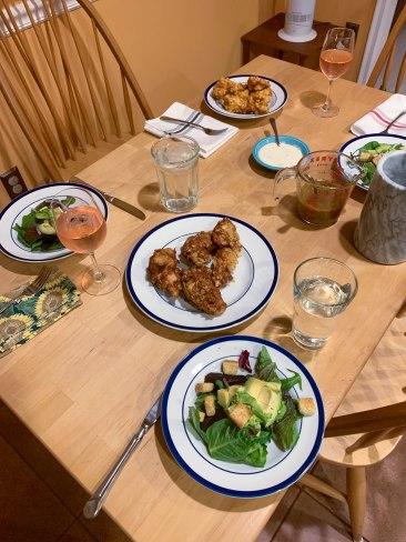 A fried feast. And salad!