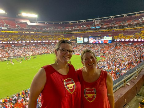 Me and Kiki in our Arsenal dresses